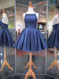 2018 Navy Blue Spaghetti Straps Satin Simple Homecoming Dresses Short Prom Dress|Amyprom