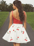Two Piece Round Neck Red Floral Homecoming Dresses Party Dresses|Amyprom