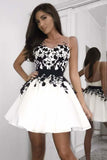 A-Line Scoop Short Black Short Prom Dress Homecoming Dress with Appliques|Amyprom