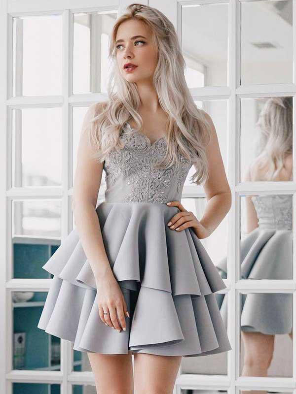 A-Line Spaghetti Straps Grey Satin Homecoming Dress with Appliques|Amyprom