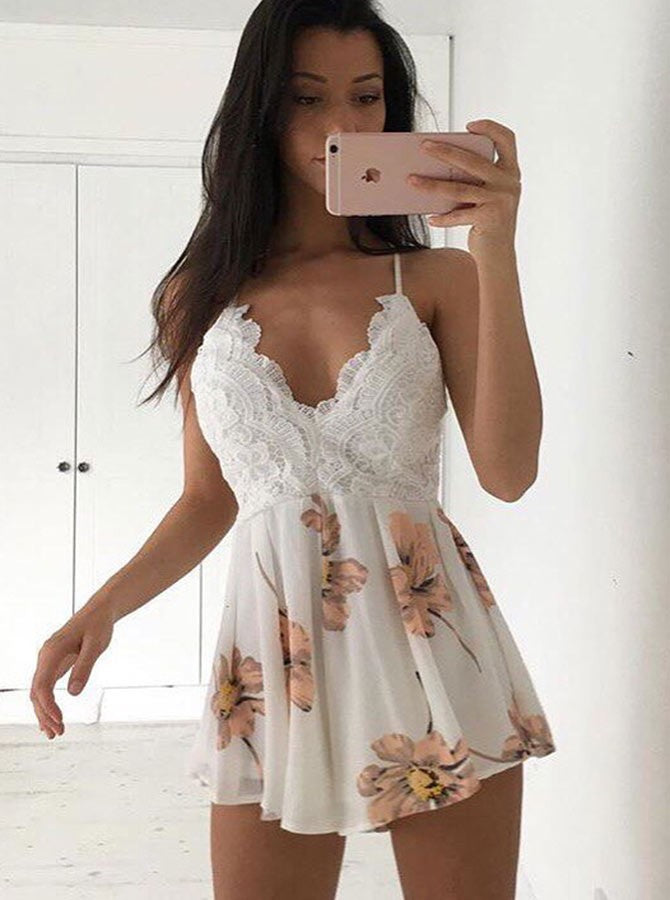 A-Line Spaghetti Straps Short White Printed Chiffon Homecoming Dress with Lace|Amyprom