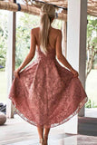 A-Line Spaghetti Straps High Low Blush Lace Short Prom Dress Homecoming Dress|Amyprom