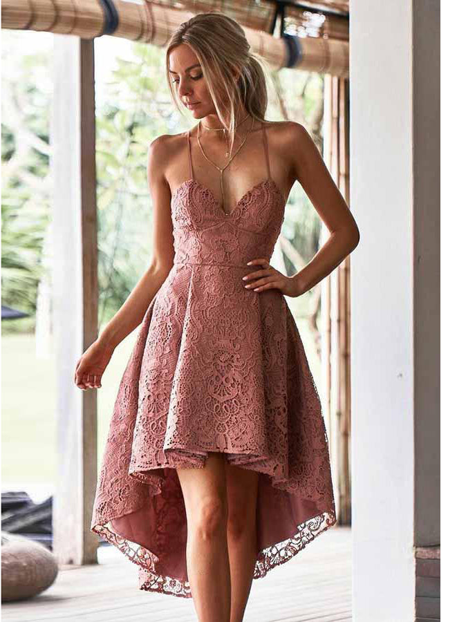 A Line Spaghetti Straps High Low Blush Lace Short Prom Dress Homecoming Dress Amy1573