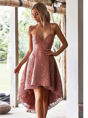 A-Line Spaghetti Straps High Low Blush Lace Short Prom Dress Homecoming Dress AMY1573