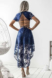 A-Line V-Neck Short Sleeves Blue Lace High Low Prom Dress Homecoming Dress|Amyprom