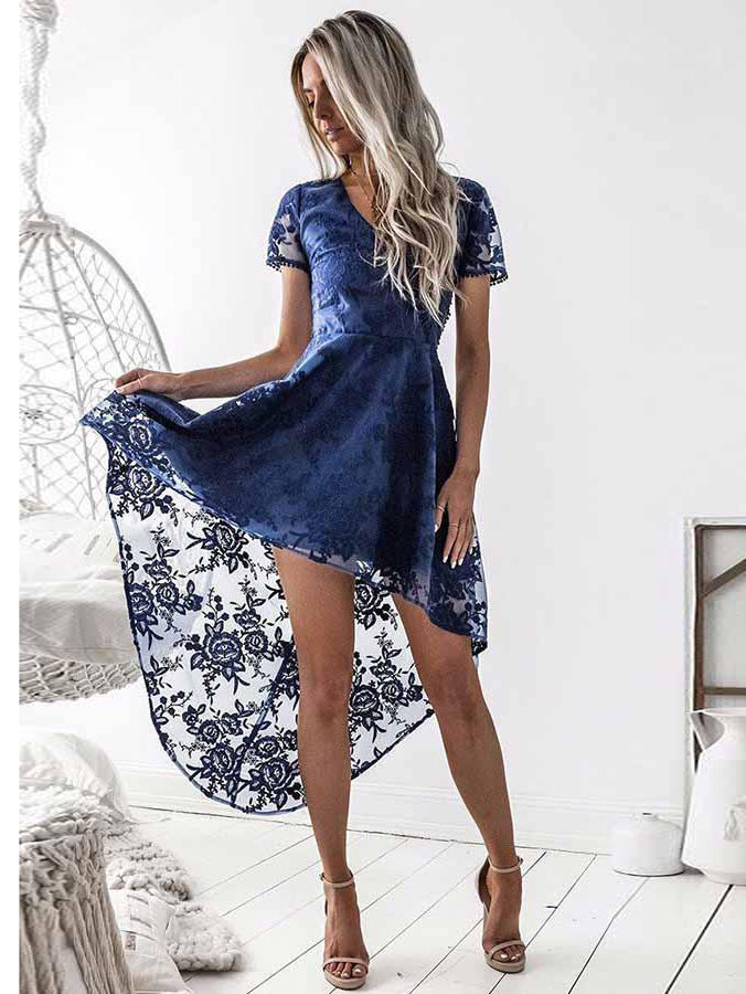 c807909f4fa A-Line V-Neck Short Sleeves Blue Lace High Low Prom Dress Homecoming Dress