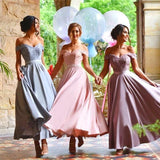 A-line Off-the-Shoulder Ankle-length Chiffon Lace Cheap Prom Dress Bridesmaid Dress|Amyprom