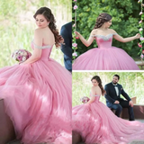 A-line Ball Gowns Off-the-shoulder Beading Wedding Dress Floor Length Modest Bride Gowns AMY1580