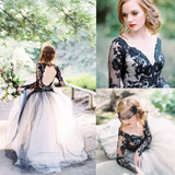 A-line V neck Long Sleeve Black Lace Gorgeous Wedding Dress Modest Bride Gowns|Amyprom