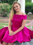 A-Line Off-the-shoulder Knee Length Prom Dress Homecoming Dresses|Amyprom