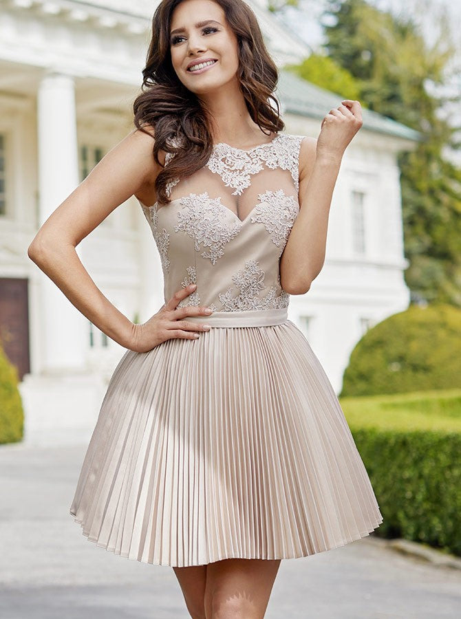 A-Line Bateau Short/Mini Prom Dress With Lace Homecoming Dresses AMY1590