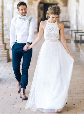 A-line Scoop Sleeveless Lace Gorgeous Wedding Dress Modest Bride Gowns|Amyprom