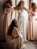 Trumpet/Mermaid Off-the-shoulder Ivory Lace Beach Boho Wedding Dress Modest Bride Gowns AMY1597