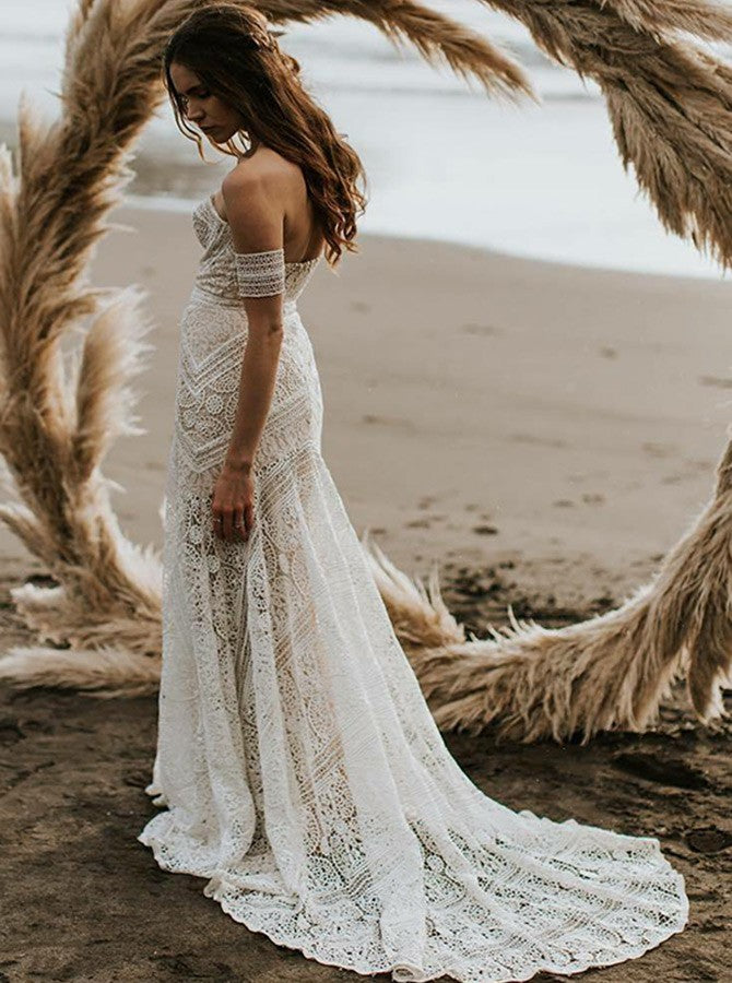 Trumpet Mermaid Off The Shoulder Ivory Lace Beach Boho Wedding Dress Modest Bride Gowns Amy1597