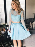 Two Pieces A-Line Scoop Long Sleeve Blue Short/Mini Prom Dress With Lace Homecoming Dresses|Amyprom