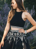 Two Pieces A-Line Scoop Black Short Prom Dress With Beading Homecoming Dresses|Amyprom