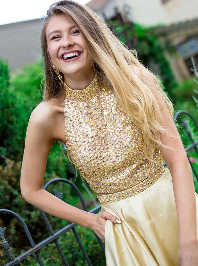 Two Pieces A-Line High Neck Gold Short Prom Dress With Beading Homecoming Dresses AMY1603