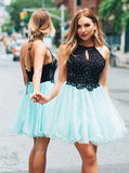A-line Spaghetti Straps Short Prom Dress With Beading Blue Homecoming Dresses Cocktail Dress AMY1607