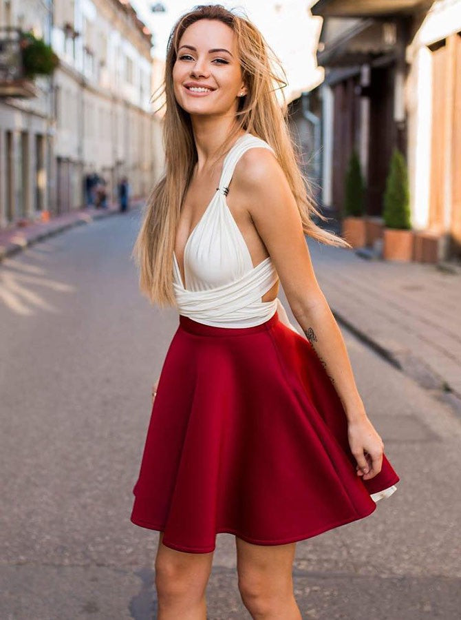 A-line Straps Burgundy White Simple Cute Short Prom Dress Homecoming Dresses|Amyprom
