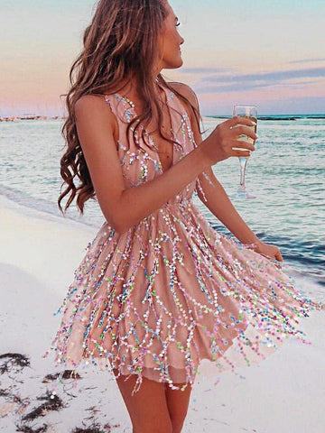 A-line Deep V Short Prom Dress With Rhinestone Homecoming Dresses|Amyprom