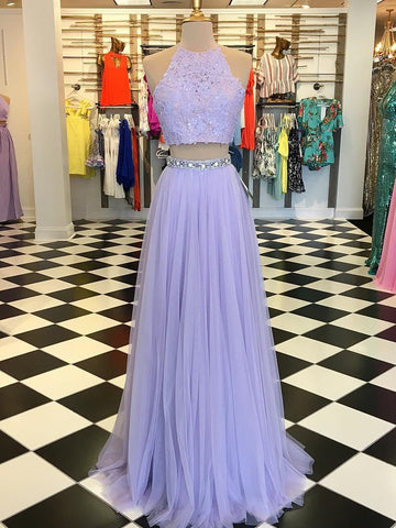 Two Pieces A-line Scoop Prom Dress Floor Length Lilac Prom Dresses Evening Dress|Amyprom
