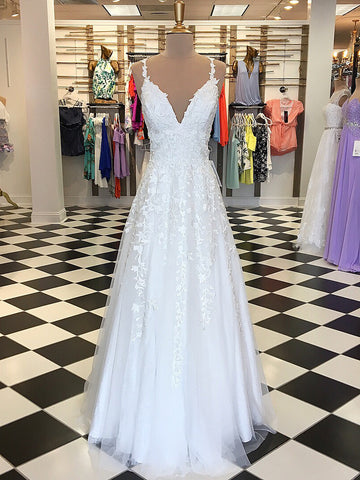 2018 A-line Spaghetti Straps Prom Dresses Custom White Long Prom Dresses Evening Dress|Amyprom