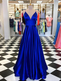 A-line Spaghetti Straps Royal Blue Prom Dress Floor Length Prom Dresses Evening Dress|Amyprom