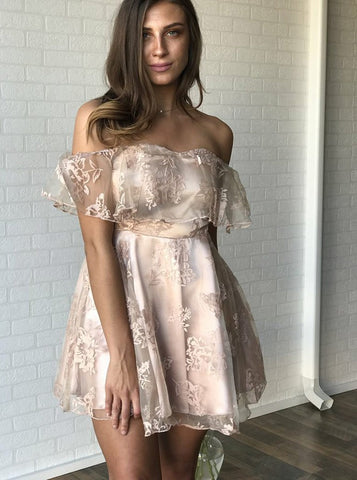 A-line Off-the-shoulder Short Prom Dress With Lace Homecoming Dresses|Amyprom