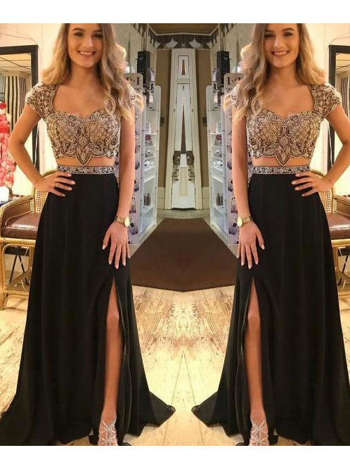 A-line Straps Black Prom Dress Floor Length Beading Prom Dresses With Silt Evening Dress|Amyprom