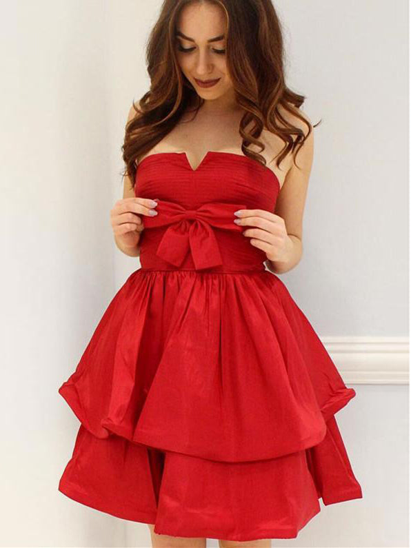A-line Strapless Short Prom Dress With Bowknot Cute Red Homecoming Dresses|Amyprom