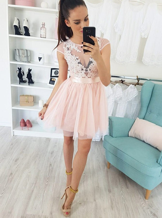 A-line Scoop Short Prom Dress With Applique Pink Homecoming Dresses|Amyprom