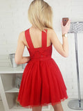 A-line Straps Short Prom Dress With Sequins Red Homecoming Dresses|Amyprom