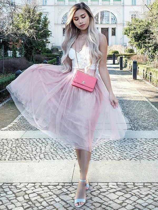 Two Pieces A-line Spaghetti Straps Tea Length Prom Dress With Lace Pink Homecoming Dresses|Amyprom