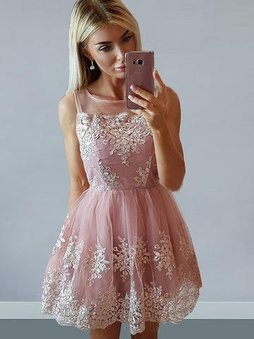 A-line Bateau Short/Mini Prom Dress With Applique Pink Homecoming Dresses|Amyprom