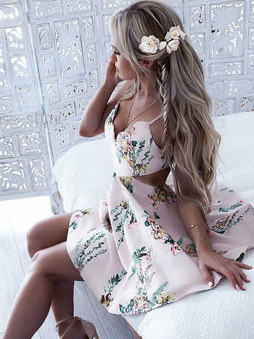 A-line Straps Short/Mini Prom Dress With Floral Beautiful Homecoming Dresses|Amyprom