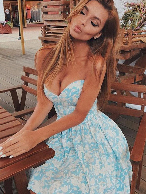 A-line Sweetheart Short/Mini Prom Dress With Lace Blue Beautiful Homecoming Dresses|Amyprom