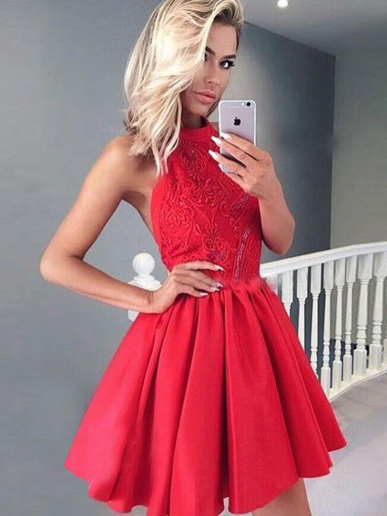 A-line Halter Short/Mini Prom Dress With Lace Beautiful Red Homecoming Dresses|Amyprom
