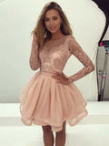 A-line Scoop Short/Mini Prom Dress With Lace Long Sleeve Beautiful Homecoming Dresses|Amyprom