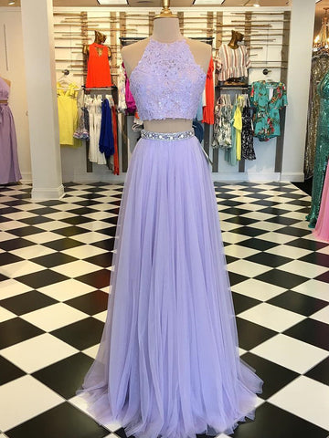 2018 Two Pieces A-line Scoop Prom Dresses Custom Lilac Long Prom Dresses Evening Dress AMY1642