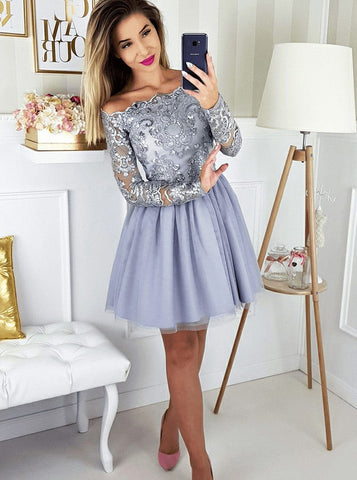 A-line Off-the-shoulder Short Prom Dress With Lace Long Sleeve Beautiful Homecoming Dresses|Amyprom