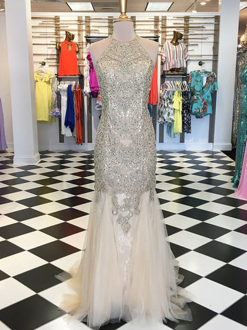 2018 Trumpet/Mermaid Scoop Prom Dresses Custom Tulle Long Prom Dresses Evening Dress|Amyprom