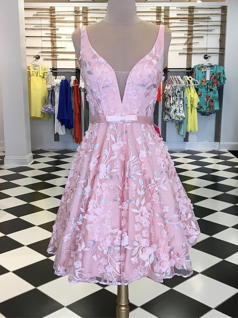 A-line Straps Short/Mini Prom Dress With Applique Beautiful Pink Homecoming Dresses|Amyprom
