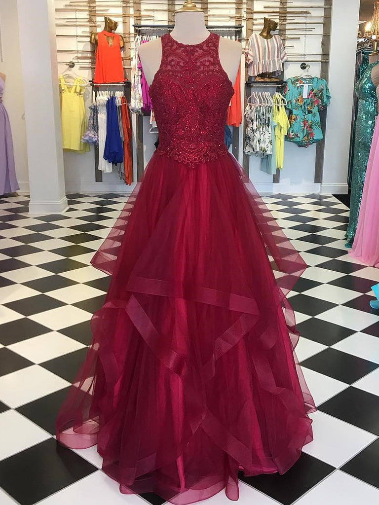2018 A-line Scoop Burgundy Prom Dresses Custom Long Prom Dresses With Beading Evening Dress|Amyprom