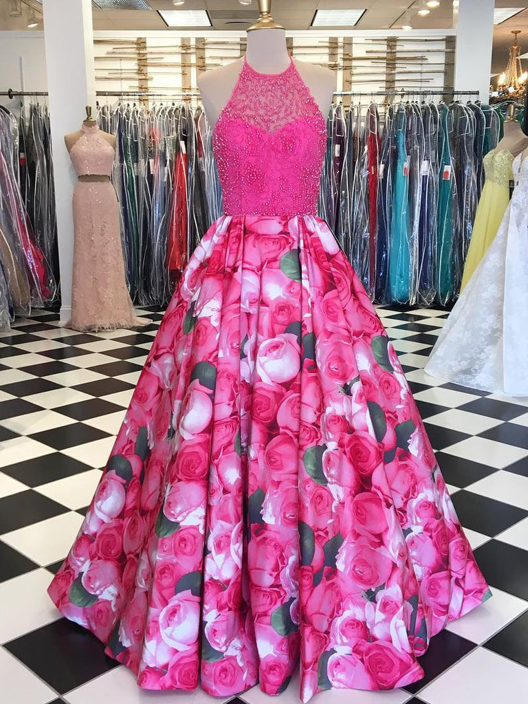 A-line Spaghetti Straps Floral Prom Dress 2018 Floor Length Long Prom Dresses Evening Dress|Amyprom