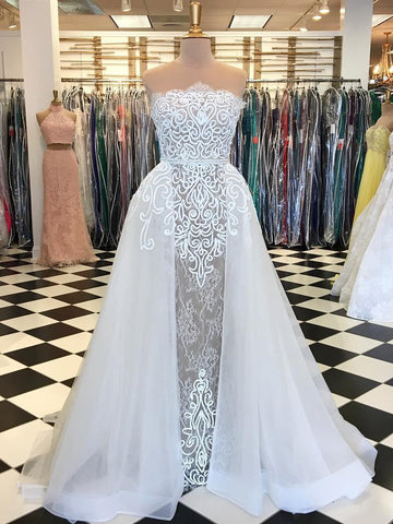 Chic White Prom Dress Strapless Lace A-line Long Prom Dresses Evening Dress AMY1660