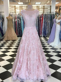 A-line Bateau Pink Prom Dress With Lace Floor Length Prom Dresses Evening Dress|Amyprom