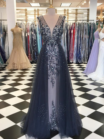 Chic V neck Prom Dress Sparkly Beading A-line Long Prom Dresses Evening Dress AMY1665