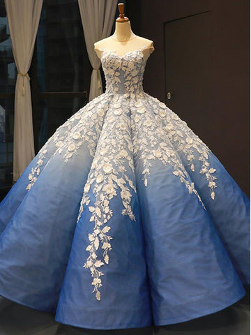 Ball Gown Blue Prom Dresses Luxury Cap Sleeve Floral Lace Long Ombre Prom Dress AMY1678