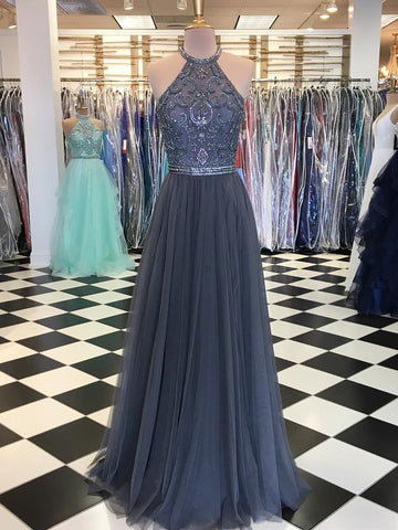 Chic Prom Dress Silver Beading A-line Long Prom Dresses Evening Dress AMY1678