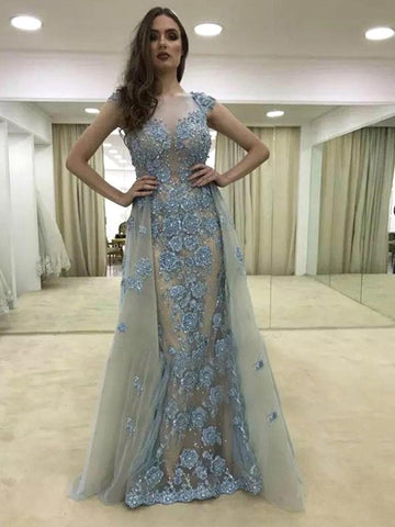 2018 Blue Prom Dresses Long Scoop Beadeding Mermaid Prom Dress Evening Dresses AMY167